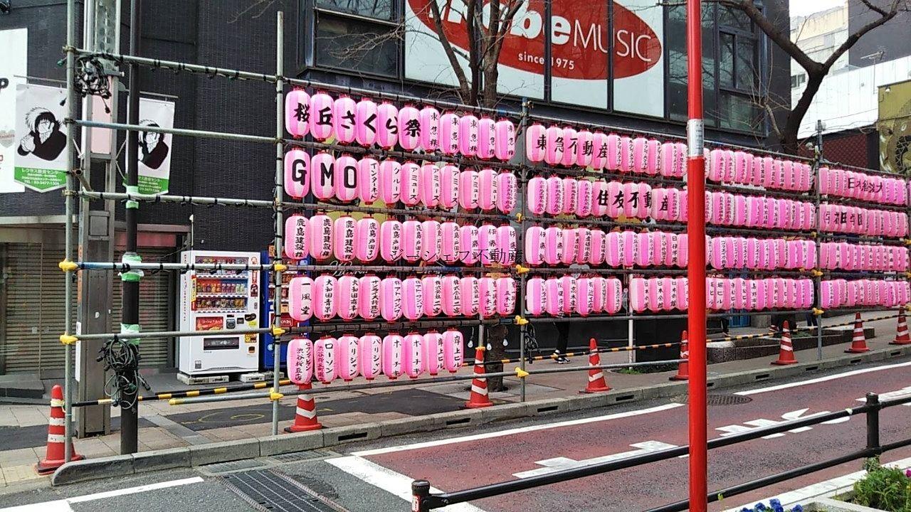 渋谷・桜丘の段飾り提灯