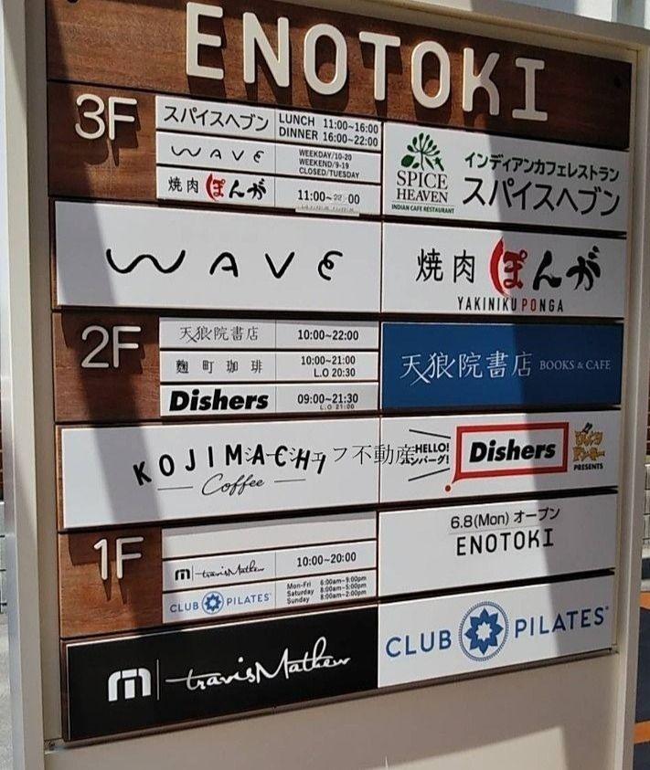 ENOTOKI お店案内の看板です。